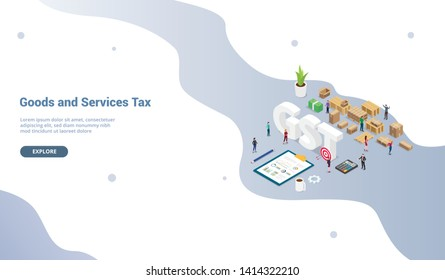gst goods services tax concept with team people and finance graph chart for website template or landing homepage - vector