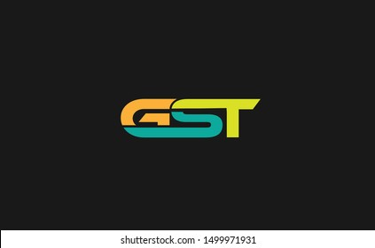 GST Letter Logo Design with Creative Modern Trendy Typography