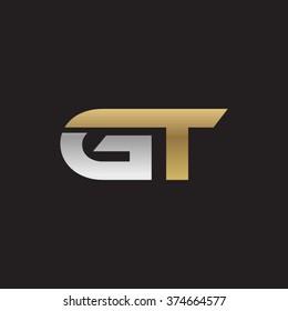 GT company linked letter logo golden silver black background