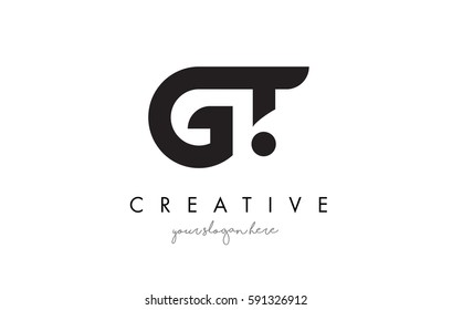 GT Letter Logo Design with Creative Modern Trendy Typography and Black Colors.