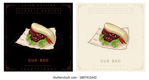 Gua Bao pork belly bun street food illustration