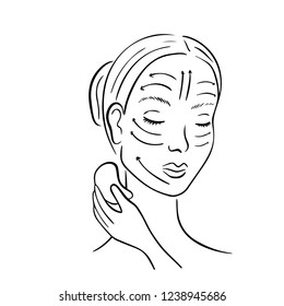 Gua Sha facial massage. Woman with stone massage scraper.