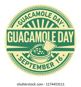 Guacamole Day, September 16, rubber stamp, vector Illustration