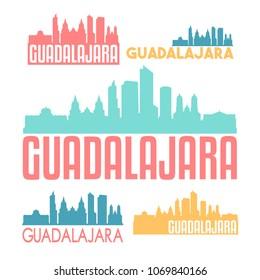 Guadalajara Mexico Flat Icon Skyline Vector Silhouette Design Set