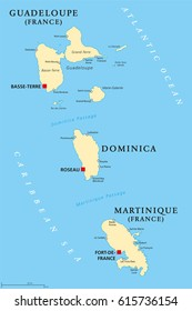 Guadeloupe, Dominica and Martinique political map with capitals Basse-Terre, Roseau and Fort-de-France. Islands in Caribbean Sea and parts of Lesser Antilles. Illustration. English labeling. Vector.