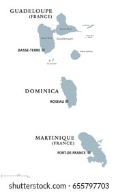Guadeloupe, Dominica, Martinique political map with capitals Basse-Terre, Roseau and Fort-de-France. Caribbean islands, parts of Lesser Antilles. Gray illustration over white. English labeling. Vector