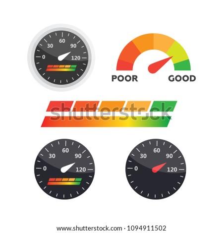 guage icon credit score indicators gauges stock vector royalty free