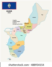 Guam administrative map with flag