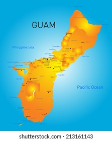 Guam country vector color map