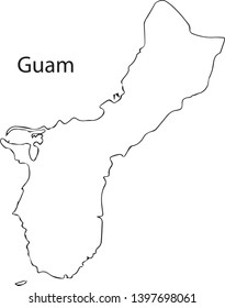 Guam - High detailed outline map