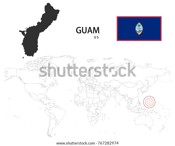 Guam Us Map On World Map Stock Vector (Royalty Free) 767282974