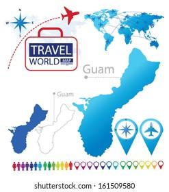 Guam map vector imgenes fotos y vectores de stock shutterstock guam world map travel vector illustration gumiabroncs Image collections