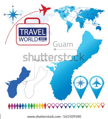 Guam On A World Map.Guam World Map Travel Vector Illustration Stock Vector Royalty Free