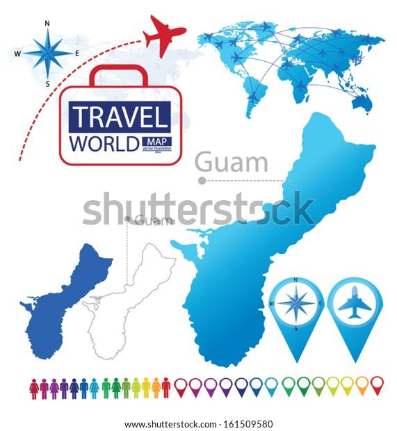 Guam World Map Travel Vector Illustration Stock Vector ...