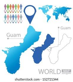 Guam World Map Travel Vector Illustration Stock Vector (Royalty Free ...