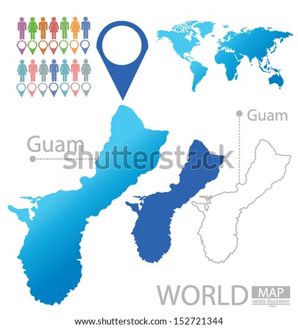 Guam World Map Vector Illustration Stock Vector (Royalty Free ...