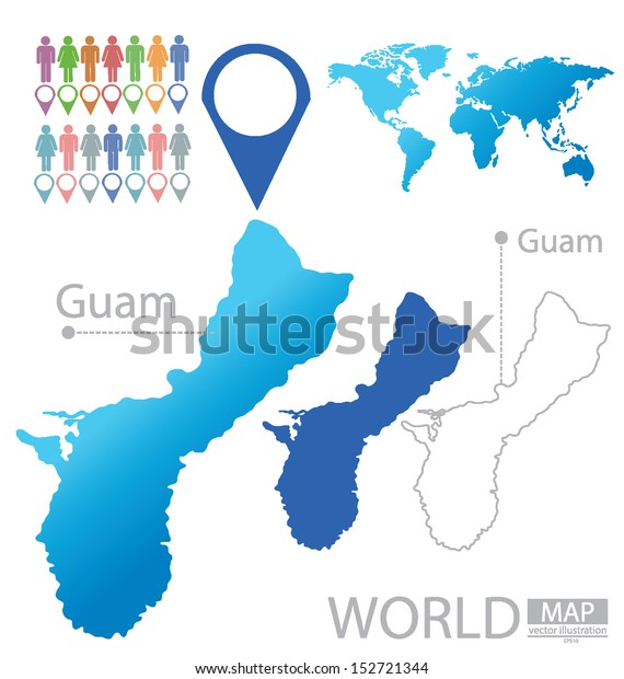 Guam World Map Vector Illustration Stock Vector (Royalty ...
