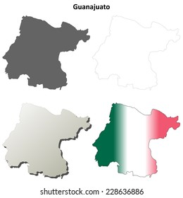 Guanajuato blank outline map set