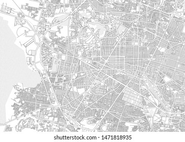 León, Guanajuato, Mexico, bright outlined vector map with bigger and minor roads and steets created for infographic backgrounds.