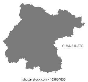 Guanajuato Mexico Map grey