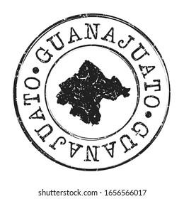 Guanajuato, Mexico Map Postmark. A Silhouette Postal Passport. Stamp Round Vector Icon. Vintage Postage Designs.