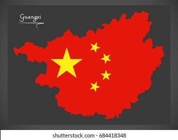Guangxi China map with Chinese national flag illustration