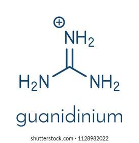 Guanidinium cation. Protonated form of guanidine. Skeletal formula.