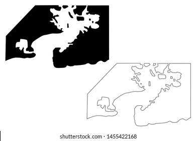 Guantanamo Bay Naval Base (Republic of Cuba, United States of America) map vector illustration, scribble sketch Guantanamo Bay (NSGB, GTMO, Gitmo, Naval Station) map