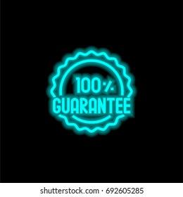Guarantee blue glowing neon ui ux icon. Glowing sign logo vector