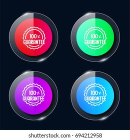 Guarantee four color glass button ui ux icon. Glossy app icon logo vector