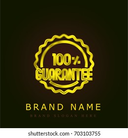 Guarantee golden metallic logo