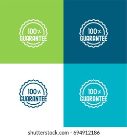 Guarantee green and blue material color minimal icon or logo design