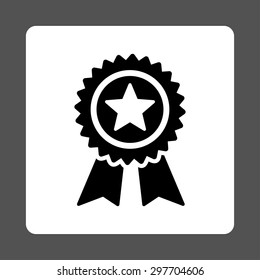 Guarantee icon from Award Buttons OverColor Set. Icon style is black and white colors, flat rounded square button, gray background.