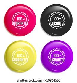 Guarantee multi color glossy badge icon set. Realistic shiny badge icon or logo mockup