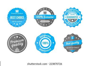 Guarantee, quality and best choice vector vintage blue badges