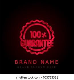 Guarantee red chromium metallic logo