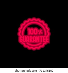 Guarantee red glowing neon ui ux icon. Glowing sign logo vector
