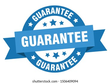 guarantee ribbon. guarantee round blue sign. guarantee