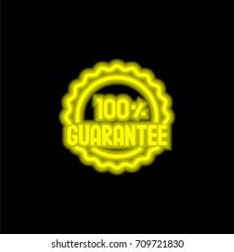Guarantee yellow glowing neon ui ux icon. Glowing sign logo vector