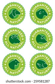 Guaranteed all natural Food labels set, goat, sheep, cow, pig, chicken and fish