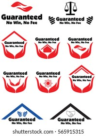 Guaranteed No win, No Fee label badge with a hand and law icon in vector illustration.