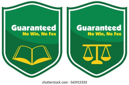 Guaranteed No win, No Fee label badge with a book and law icon in vector illustration.