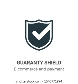 Guaranty shield vector icon on white background. Flat vector guaranty shield icon symbol sign from modern e commerce and payment collection for mobile concept and web apps design.