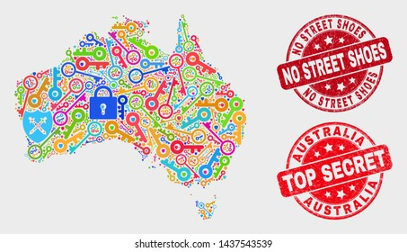 Guard Australia map and watermarks. Red rounded Top Secret and No Street Shoes distress stamps. Colored Australia map mosaic of different administration icons. Vector collage for guard purposes.