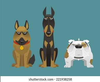 Guard dog collection set vector illustration.