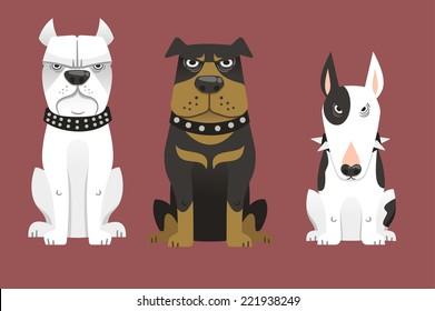 Guard Dog Set Collection vector illustration 2.