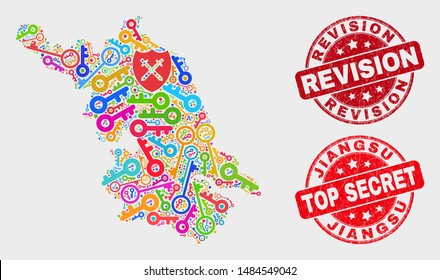 Guard Jiangsu Province map and stamps. Red rounded Top Secret and Revision distress stamps. Bright Jiangsu Province map mosaic of different access elements. Vector composition for safety purposes.