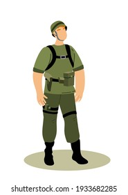 Guard Officer Soldier Military Man, Personnel Army Dressed in Camouflage Uniform.Soldier,Secret service agent,Combat,Serdeant,Capitan,Army Man, Guard House with Weapon.Flat Cartoon Vector illustration
