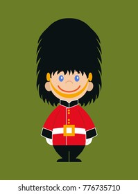 The guard of the queen. Flat design on a green background. National icon of Britain. Symbol of London. Soldier in traditional uniform. red coated in bearskin hat.Vector illustration