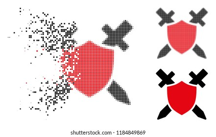 Guard shield icon in fractured, pixelated halftone and whole variants. Pieces are combined into vector disappearing guard shield symbol. Disappearing effect involves square particles.